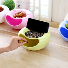 1PCS Plastic Double Layer Dry Fruit Melon Seeds Nut Containers Snacks Storage Box Holder Plate Organizer With Mobile Phone Stand