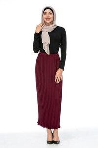 Image 4 - Maxi femmes musulmanes jupes plissées mode élégant porter quotidien avec falbala demi longues jupes à la cheville SK9017