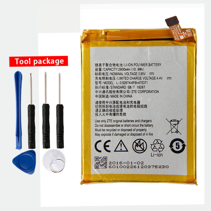 Original Li3928T44p8h475371 Phone battery For <font><b>ZTE</b></font> Blade A1 AXON Mini B2015 C880 C880A <font><b>C880S</b></font> Xiaoxian 3 2800mAh image