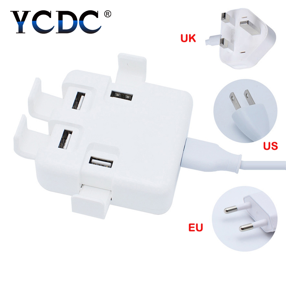 YCDC Fast Charging USB Charger Power Travel Home Wall Adapter Strip 1.4m Cable with 4 USB Socket Ports For US UK EU Plug Sockets