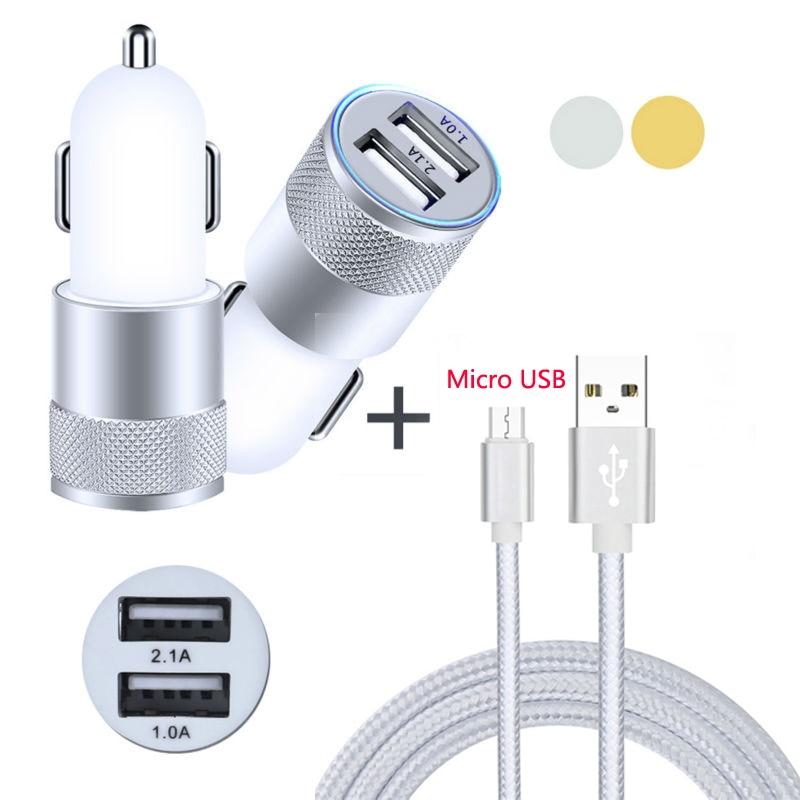 2Port USB Aluminum Car Charger + Nylon Micro USB Cable For Vivo Z10/V9/Z1i/Z1/Y81/Y83/X21i/Y71/Y75s/Y53i/Y85/X21/Y71i/V7 Plus
