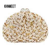 Newest Flower Evening Crystal Bag Golden Stones Rhinestone Clutch Evening Bag Female Party Purse Wedding Clutch