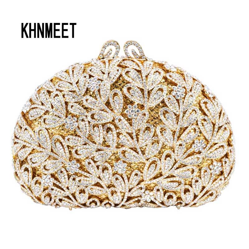 Newest Flower Evening Crystal Bag Golden Stones rhinestone Clutch Evening Bag Female Party Purse Wedding Clutch Bag SC532 faux crystal mosaic clutch evening bag
