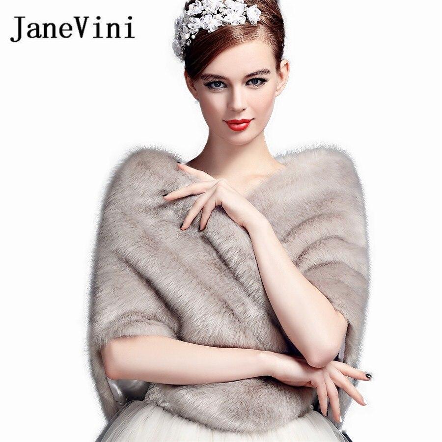 JaneVini 2018 Elegant Faux Fur Capes for Women Winter Warm Gray Wedding Cape Jacket Wraps Bridal Fur Stoles Boleros De Novia