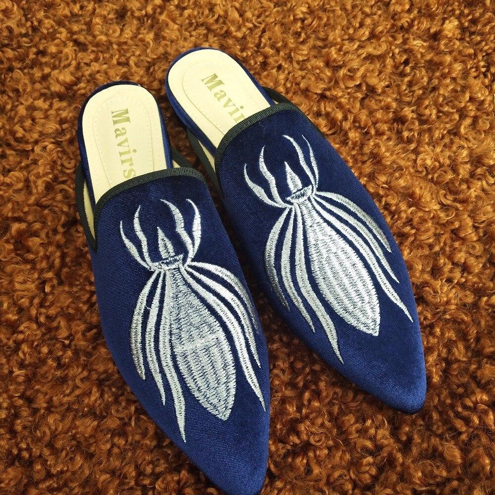 Oro Mujeres Bordado 34 Diarios Zapatos 45 Nuevo Azul Blue Tamaño Muller Las Terciopelo Zapatillas Color Boca Baja De dPRxwxUY