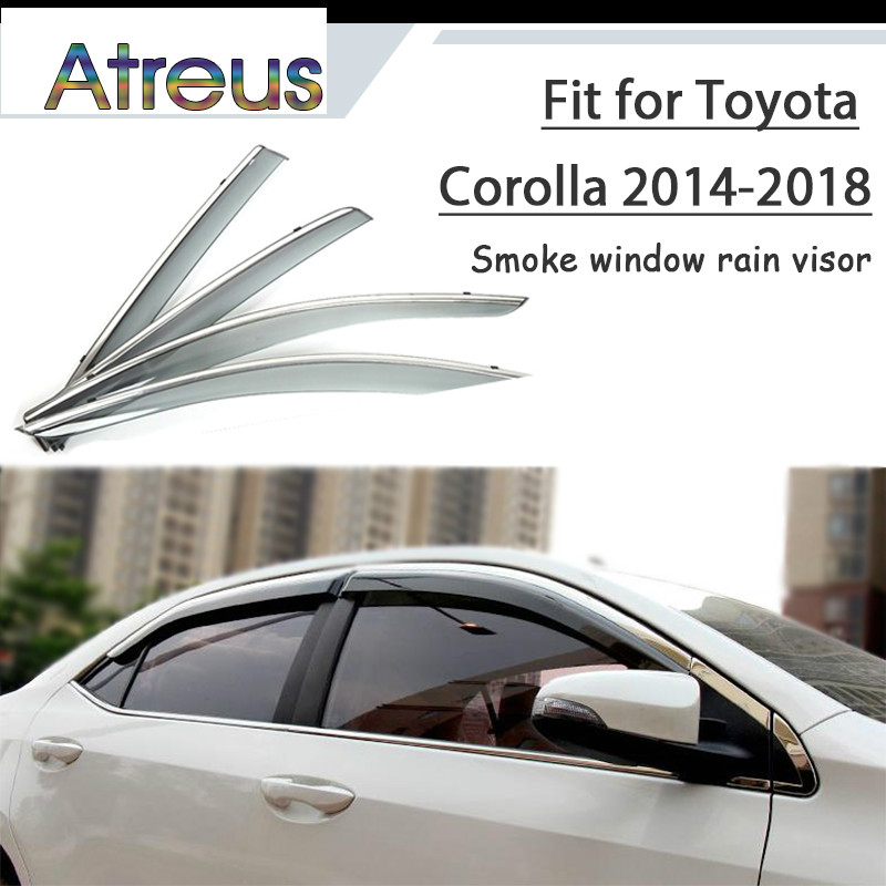 Atreus 1set ABS For 2018 2017 2016-2014 Toyota Corolla E170 Accessories Car Vent Sun Deflectors Guard Smoke Window Rain Visor