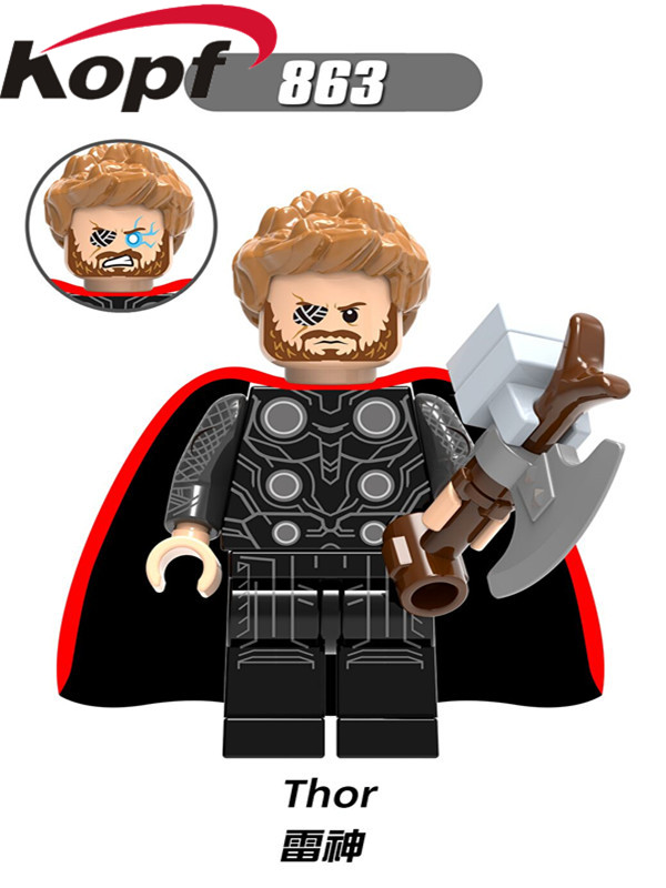 Single Sale Super Heroes Thor Odinson with Hammer Cape Captain America Hela Loki Dolls Building Blocks Children Gift Toys XH 863