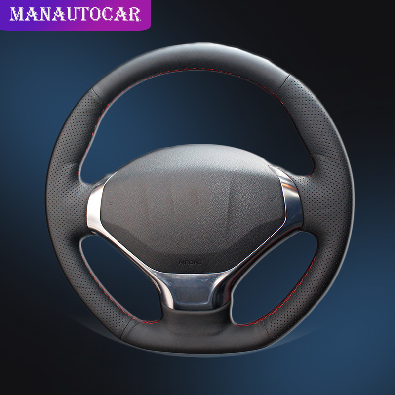 Auto Braid On The Steering Wheel Cover for Peugeot 3008 2013 2015 Interior Accessories Car styling Car Steering Wheel Cover-in Steering Covers from Automobiles & Motorcycles