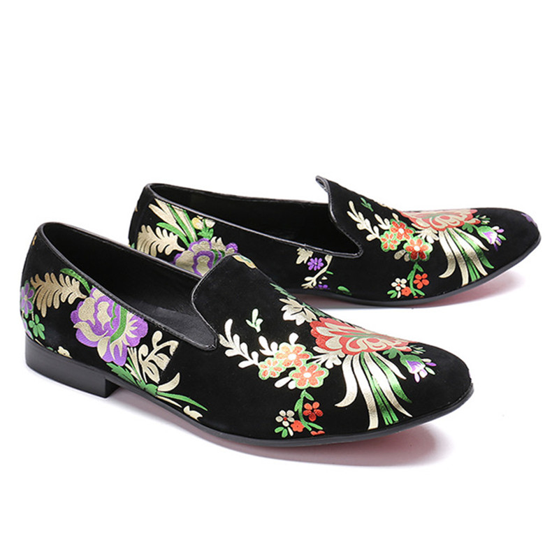 Chinese Ethni style floral print  little flat casual Shoes round toe male  loaferdress Moccasins dress shoes(China)