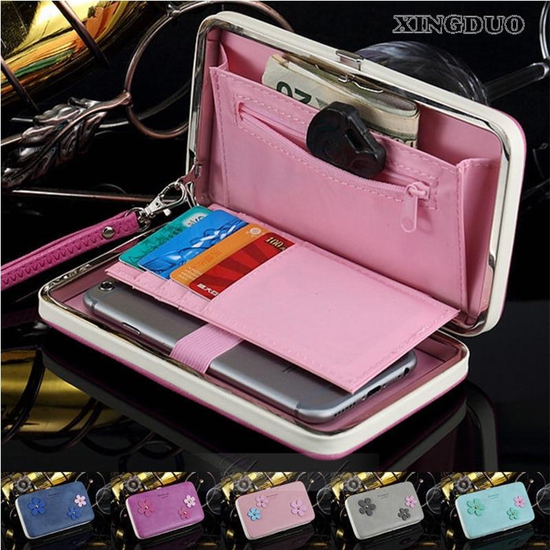 XINGDUO Universal Magnetic Wallet Leather Case Card Cash Flip Pouch Phone Handbag Purse For iphone 4 4S 5 5S 6 6S 6Plus 6S Plus