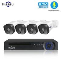 Hiseeu аудио 1080 P POE NVR Kit 8CH H.265 CCTV Камера Системы открытый 2MP звук для камеры комплект камер видеонаблюдения камера видеонаблюдения
