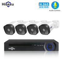 Hiseeu Audio 1080P POE NVR Kit 8CH H.265 CCTV Camera System Outdoor 2MP Audio IP Camera Security Camera Kit Video Surveillance