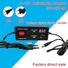 AC/DC Adjustable Power Adapter Supply 3V 12V 4A 5A Speed Control Volt Display 12v 5a LED driver 3.3v 4v5v8.4v5a dimmabledriver