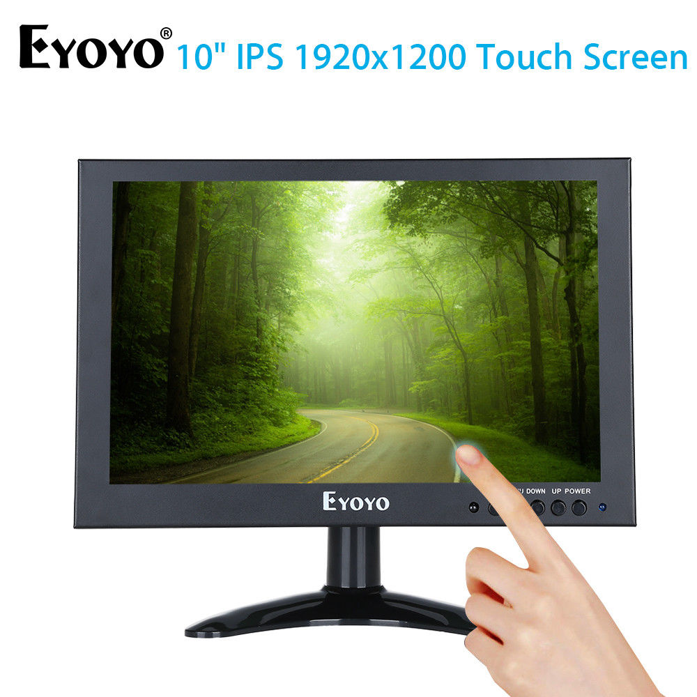 Eyoyo 10 Full HD 1920x1200 IPS Touch Screen LED Monitor With VGA AV Video Input 450cd/m2 ...