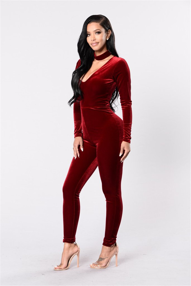 d6630cfd2d21 High Quality Velvet Jumpsuit Women Long Sleeve Bodycon Romper ...