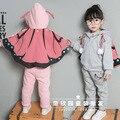 Новая детская одежда хан издание девушки осень/зима 2016 бабочки из двух частей костюм с капюшоном куртка + брюки движения