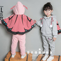 The new children's clothing han edition girl autumn/winter 2016 butterfly two-piece suit hooded jacket + trousers movement