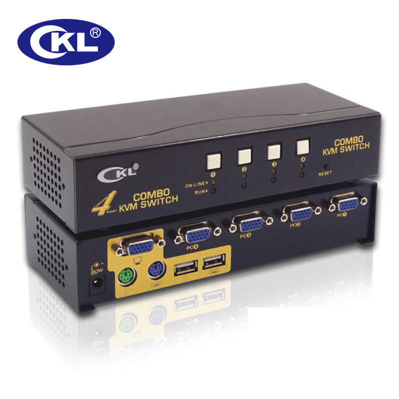 CKL-84UP USB2.0 PS/2 4 Port VGA KVM Switch with Cables Support Auto Scan 2048*1536, PC Monitor Keyboard Video Mouse Switcher