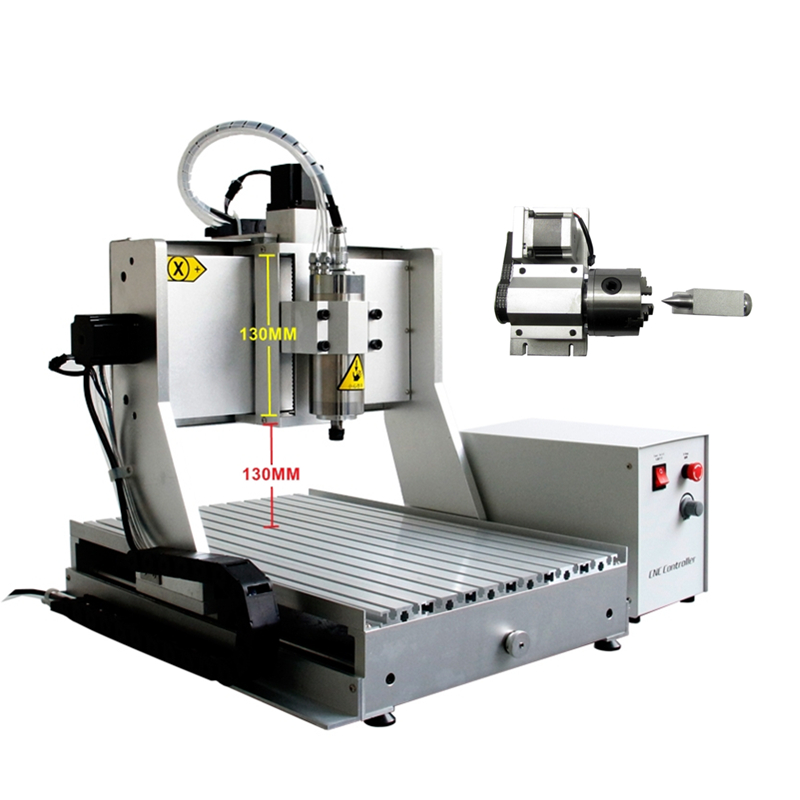 1500W spindle 4axis cnc drilling machine 3040ZH metal engraver wood router machine 130mm Acceptable material thickness 4 axis cnc machine cnc 3040f drilling and milling engraver machine wood router with square line rail and wireless handwheel