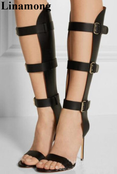 Newest Sample Summer Fashion Shoes Black Buckle Strap Design Sexy Thin High Heel And Open Toe Mid-Calf Women Boots