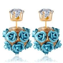 Rose Flower Stud Earrings for Women Female 2017 Boucle d'oreille Crystal Earring Gold Bijoux Jewelry Brincos Mujer
