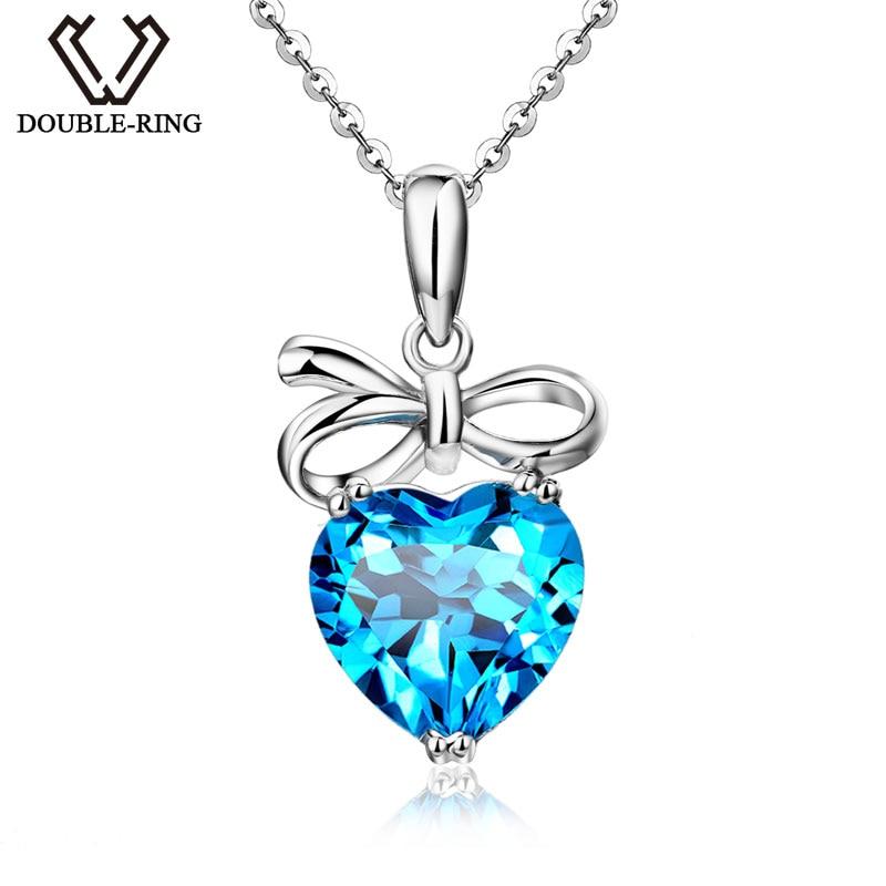 DOUBLE-R Femmes Bijoux Fine Amour Coeur Bleu Topaze Blanc 925 Pendentif En Argent 925 Sterling Pendentif En Argent avec Chaîne CASP00767A