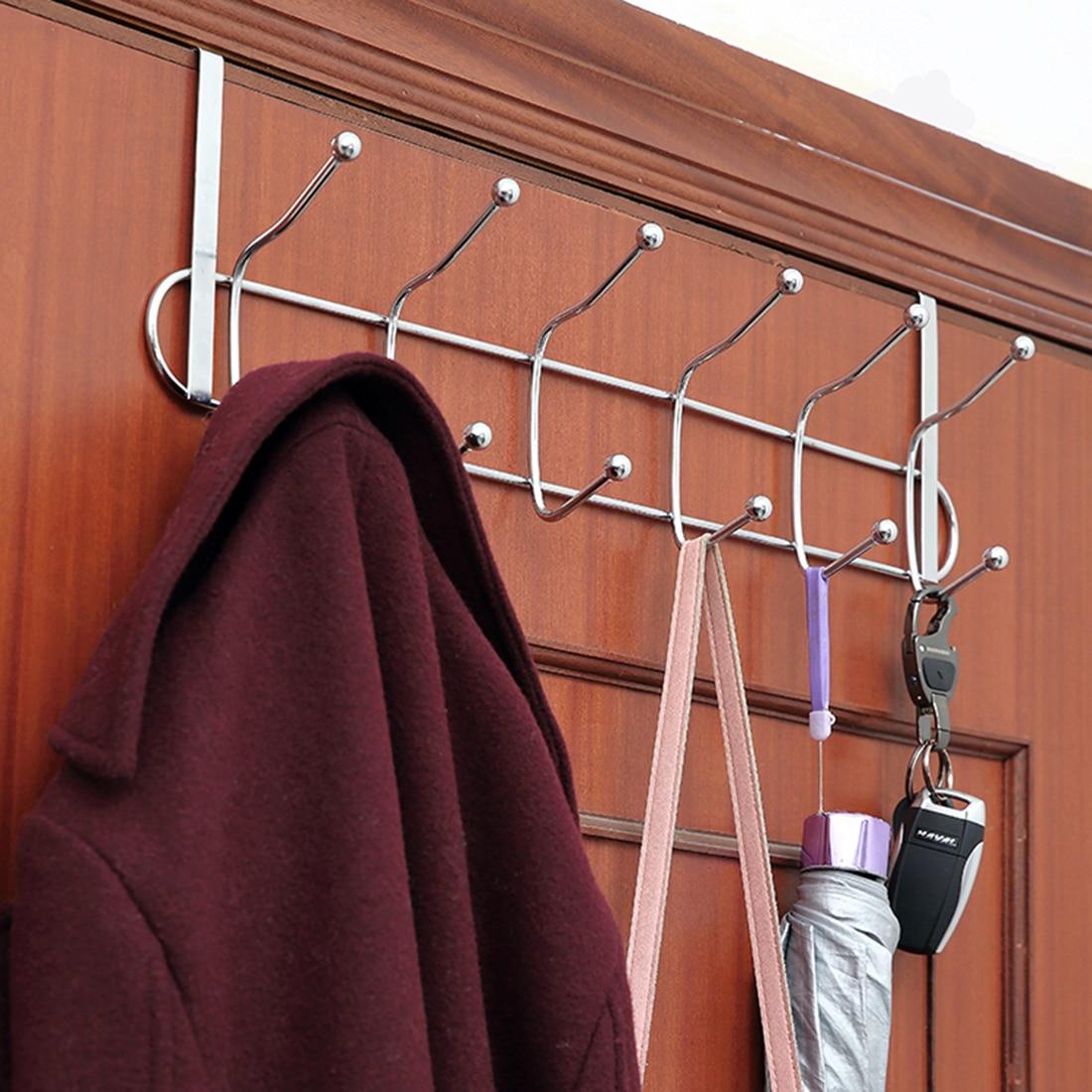Us 1044 24 Off12 Hooks Bathroom Door Hanging Rack Kitchen Hanging Organizer Door Clothes Hanger Hooks Over Door Rack Towel Holder In Storage
