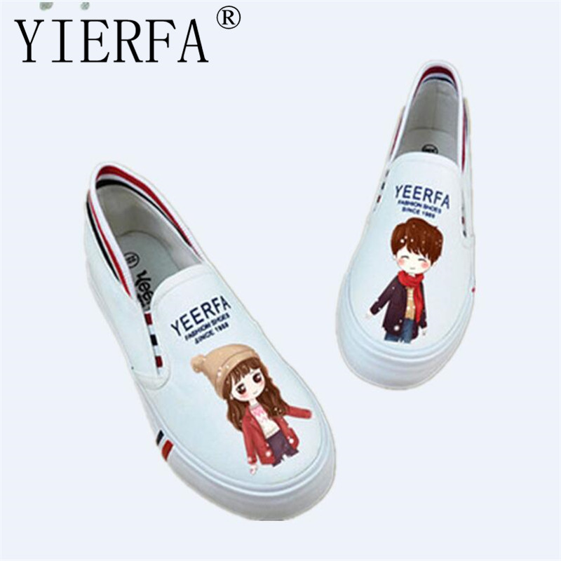 YIERFA Women's Canvas Shoes Personalized cartoon Hand-Painted Shoes Girl Flat Low Graffiti Shoes Fluorescent light shoes 35-40 e lov women casual walking shoes graffiti aries horoscope canvas shoe low top flat oxford shoes for couples lovers
