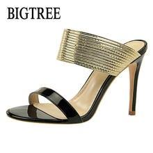 c31f18983 BIGTREE NOVOS Clássicos Mulheres Sexy Partido Sapatos Peep Toe Estilete De  Metal Decoração Sapatos de Salto Alto Mulher Sandália.