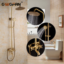 OWOFAN Bathroom Shower Faucet Set Antique Bathtub Faucet Mixer Tap Waterfall Wall Brass Shower Head Polished Shower Set CA-9704K все цены