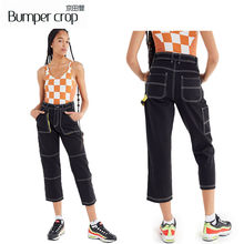 BUMPERCROP Pockets jeans women yellow Panelled lady denim pants distressed Vintage trousers Loose Cargo pants 2019 desin style(China)
