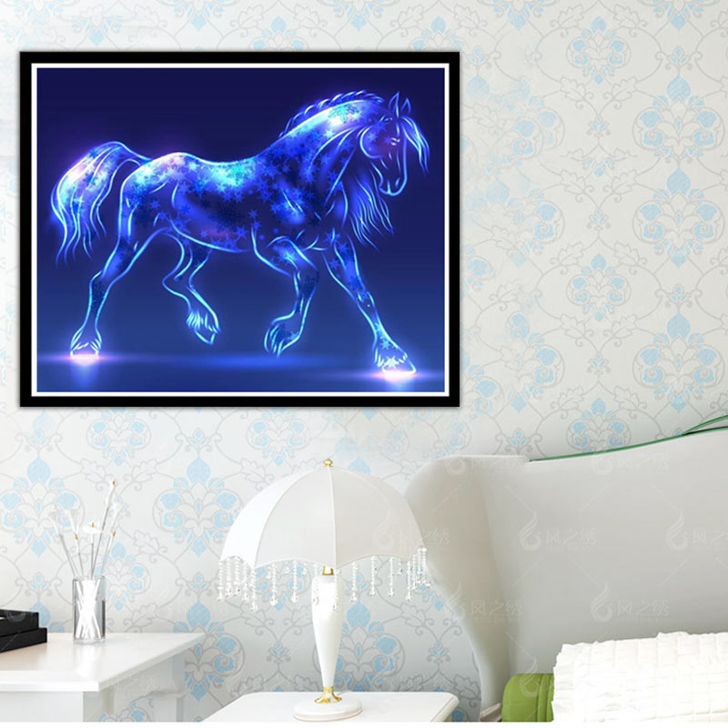 Colorful Horse DIY Diamond Embroidery Painting Cross Stitch Kit Round Drill Needlework Rhinestone Paint Craft 30*40cm