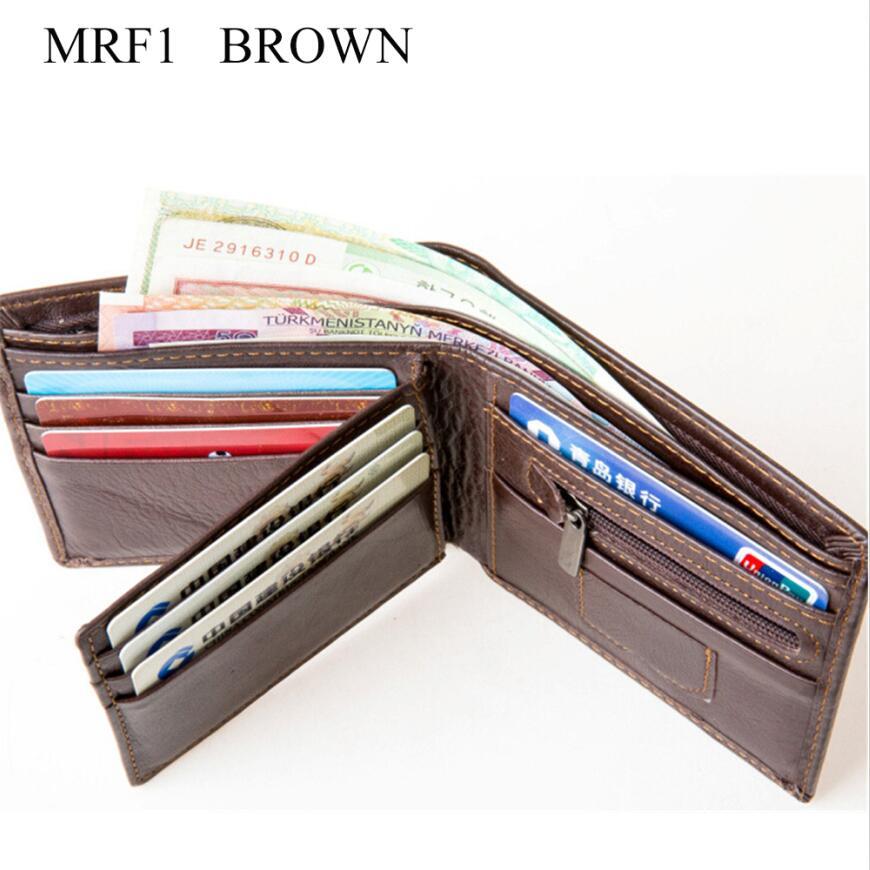 LONGXIOR мужской кошелек из натуральной кожи с блокировкой RFID мужской модный кошелек из коровьей кожи мужские кошельки MRF7 - Цвет: MRF1 brown