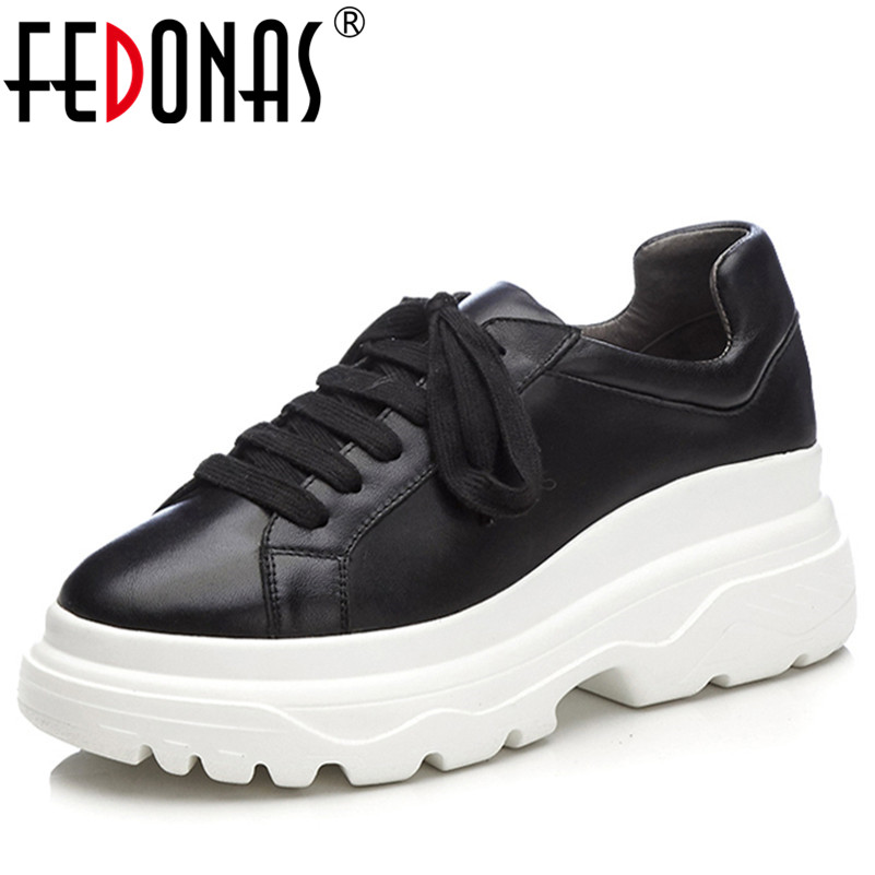 FEDONAS 1New Arrival Women Basic Flats Round Toe Platforms Spring Autumn Sneakers Genuine Leather Cross-tied Shallow Shoes Woman asumer white spring autumn women shoes round toe ladies genuine leather flats shoes casual sneakers single shoes