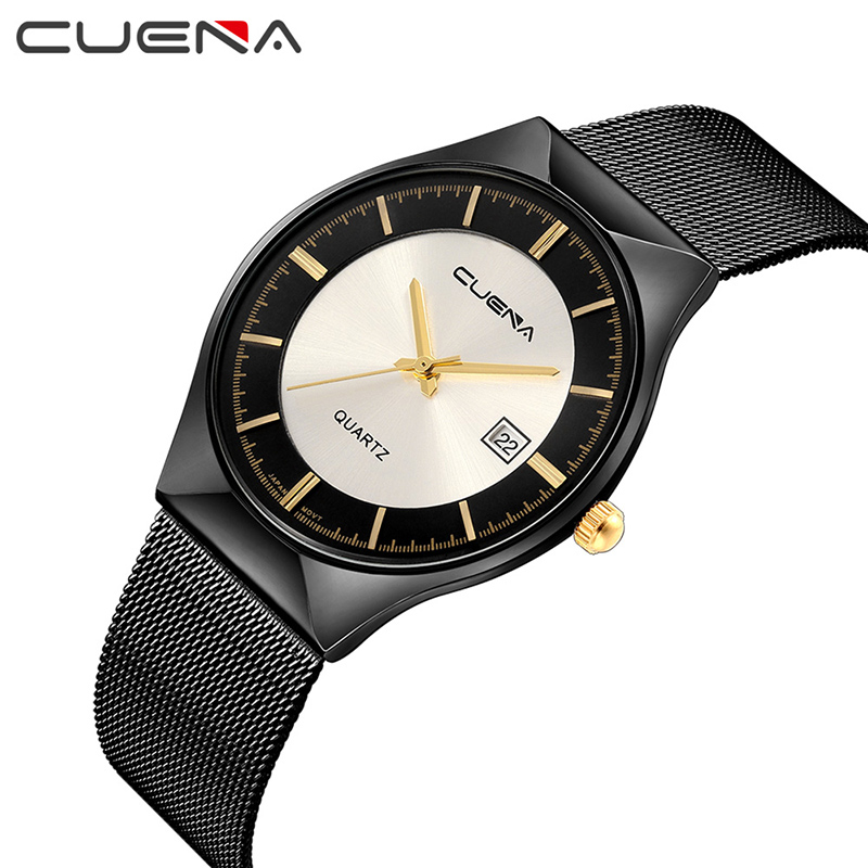 CUENA Men Watch Fashion Mens Watches Top Brand Luxury Waterproof Stainless Steel Quartz Wristwatches Relojes Relogio Masculino weide popular brand new fashion digital led watch men waterproof sport watches man white dial stainless steel relogio masculino