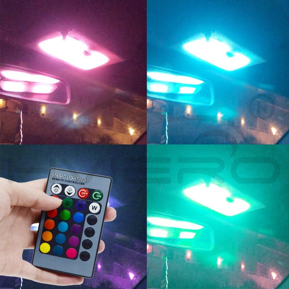 2X T10 RGB višebojna promjena žarulje LED šarene unutrašnjosti - Svjetla automobila - Foto 3