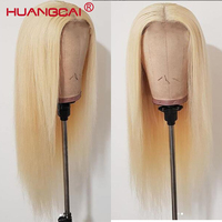 Glueless #613 Honey Blonde Lace Front Human Hair Wig Pre Plucked Brazilian Lace Wigs With Baby Hair 613 Blonde Remy Straight Wig