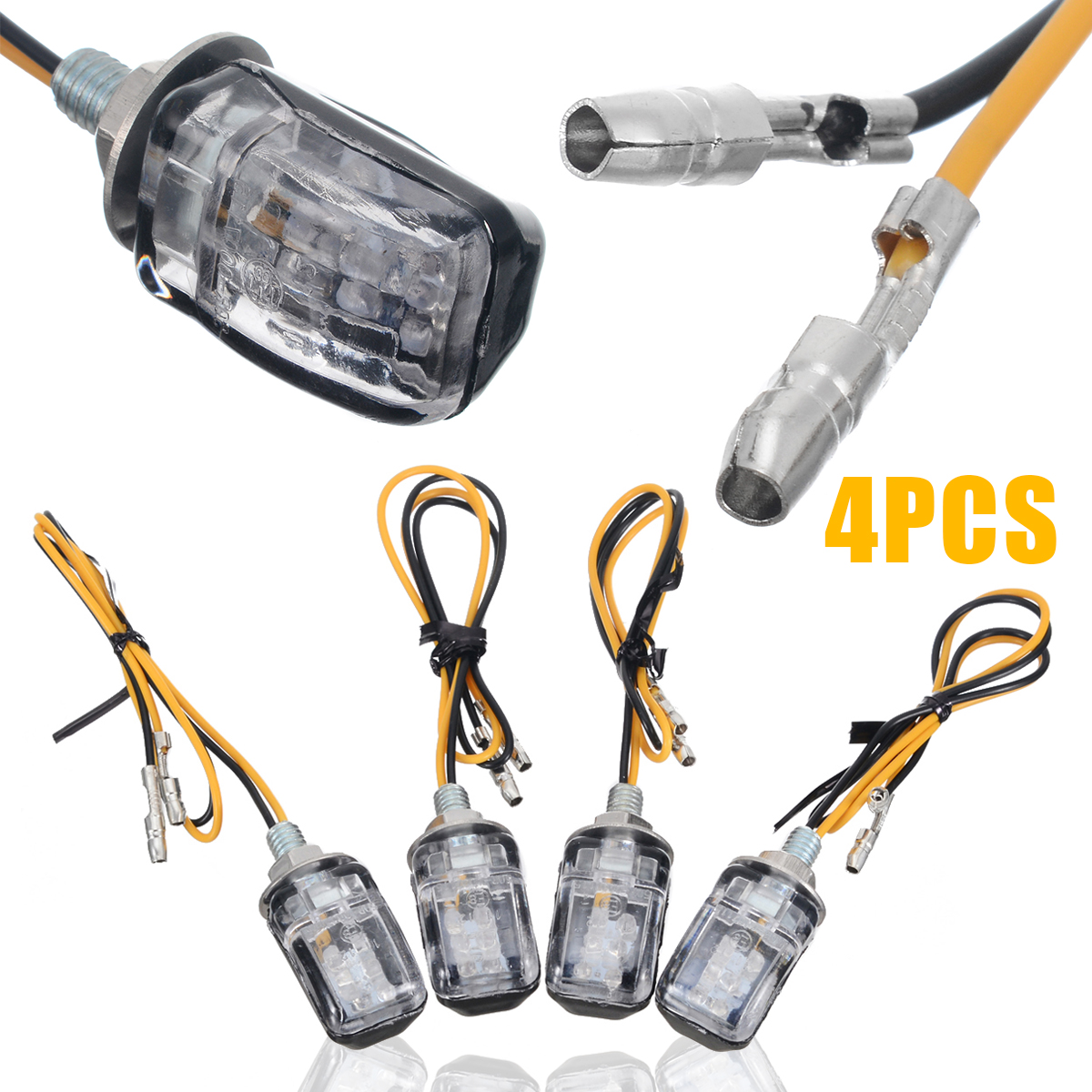 4pcs 12V Amber LED Motorcycle Dirt Bike Turn Signal Light  Mini Blinker Indicator Small Rectangular Lamp 2 Wires For Honda