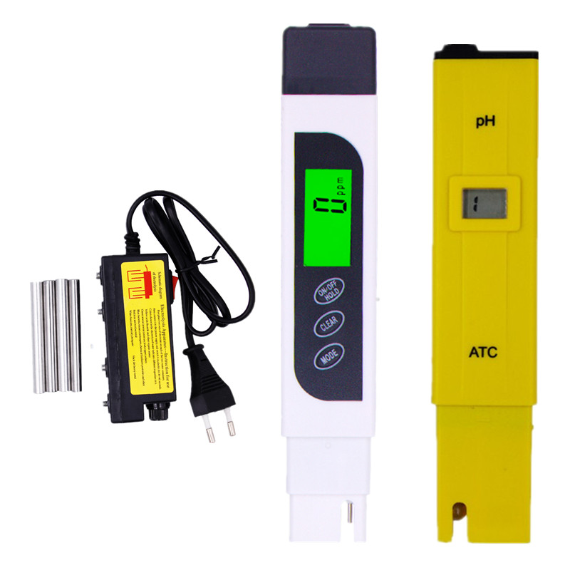 LCD display ph meter ATC + EC TDS tester backlight + TDS Water Electrolyzer Test Quality Purity Filter Hydroponic Tool 40% off digital ph tds orp redox meter pocket pen electric electrolyzer water quality purity filter tester tool kit for pool aquarium