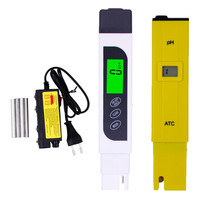 LCD Display Ph Meter ATC EC TDS Tester Backlight TDS Water Electrolyzer Test Quality Purity Filter