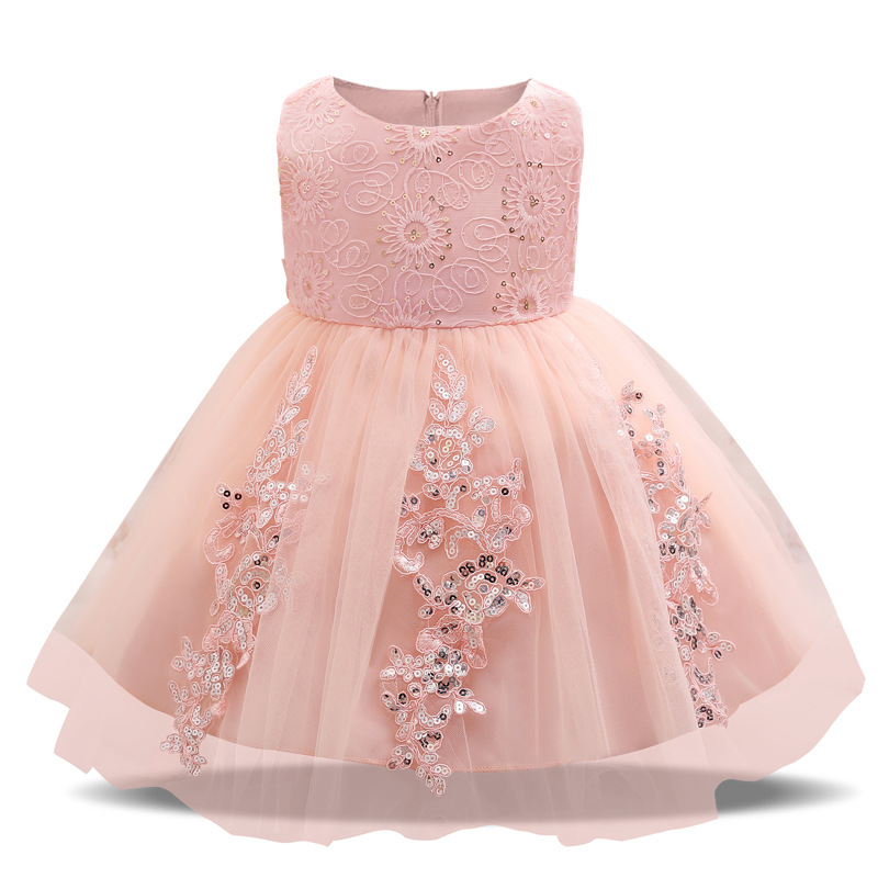 Baby Girl Dresses Party and Wedding Gown Flower Embroidery Baby Girl 1 Year Birthday Dresses Girls Sequins Party Princess Dress