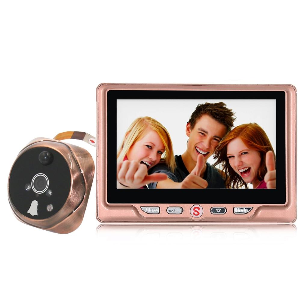 ФОТО 4.3inch Night Visible Peephole Door Phone Doorbell Battery Operated Door Viewer 120 Degree Angles Door Bell Ring For Home Safe