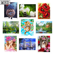hot deal buy 5d diy diamond painting lovely animal cross stitch full diamond embroidery 3d diamond mosaic painting christmas gifts home decor