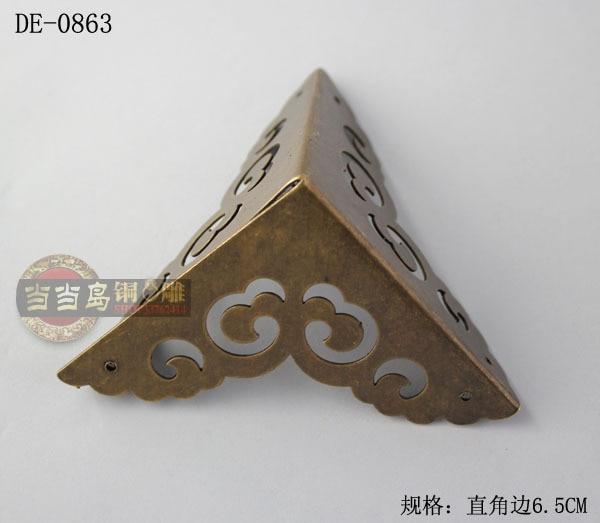 Chinese antique furniture wooden bread box copper corner brackets bronze horn DE-0863 6.5CM