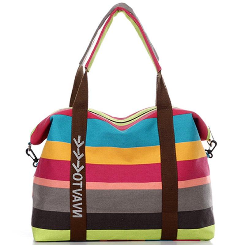 Bolsa de Lona A Rayas De moda de Las Mujeres Más Nuevo Diseño de Marca Bolsas de