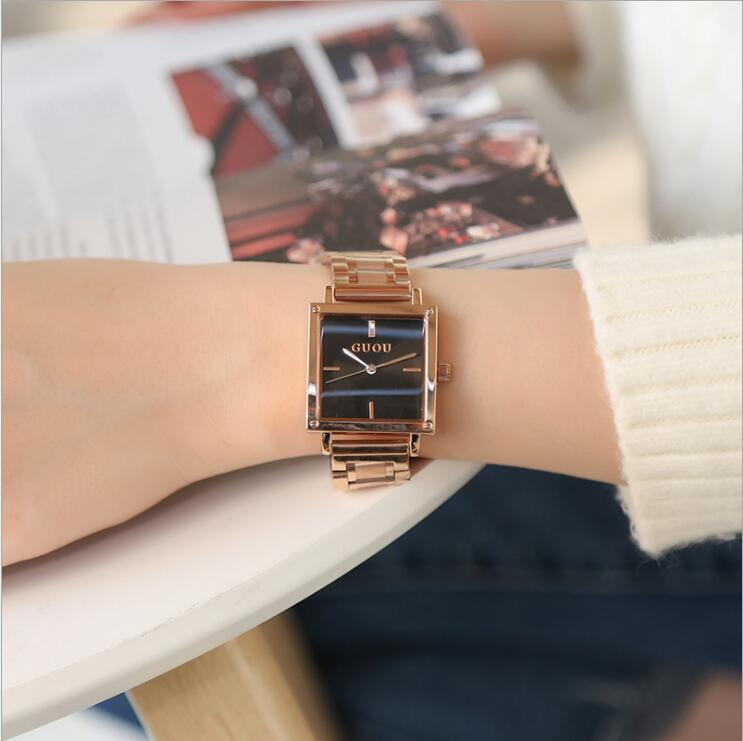 GUOU Watch New Luxury Brand Quality Watch Rose Gold Women Watches Rectangle Full Steel Bracelet Clock saat relogio feminino