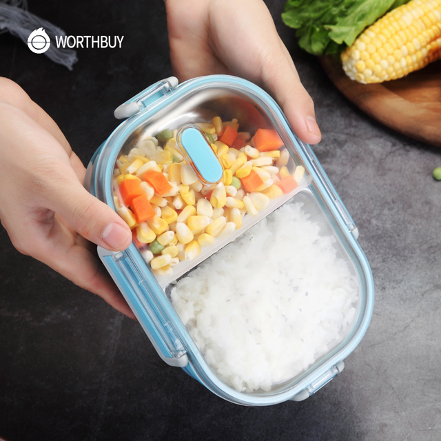 WORTHBUY Japanese Portable Lunch Box For Kids School 304 Stainless Steel Bento Box Kitchen Leak-proof Food Container Food Box 3