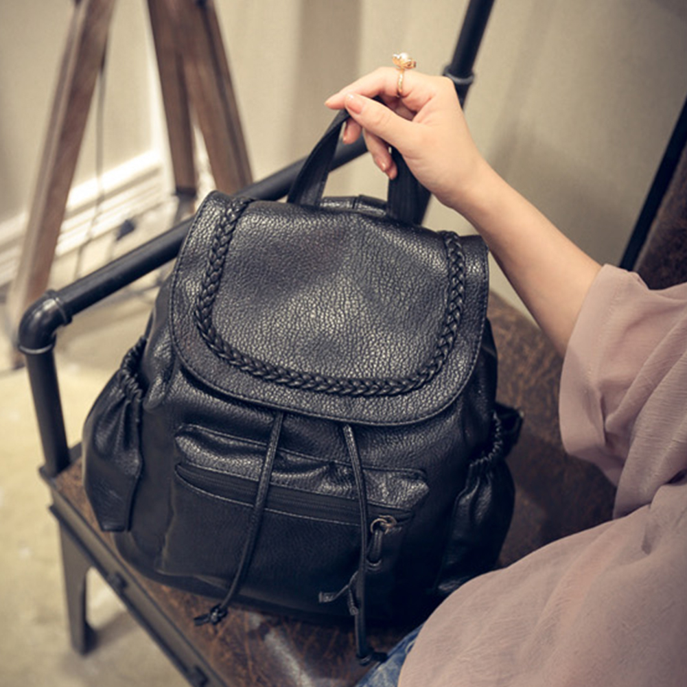 Backpacks For Teenager Braid PU leather Student Backpack Women Girls Campus Shoulder Backpack Schoolbag Travel #35