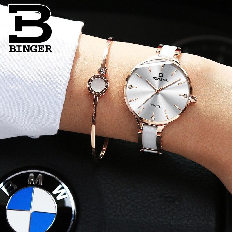 0b07bb425f9 Mulheres De Luxo Relógio Marca suíça BINGER Moda Pulseira de Cristal  Relógios Senhoras Mulheres Relógios de