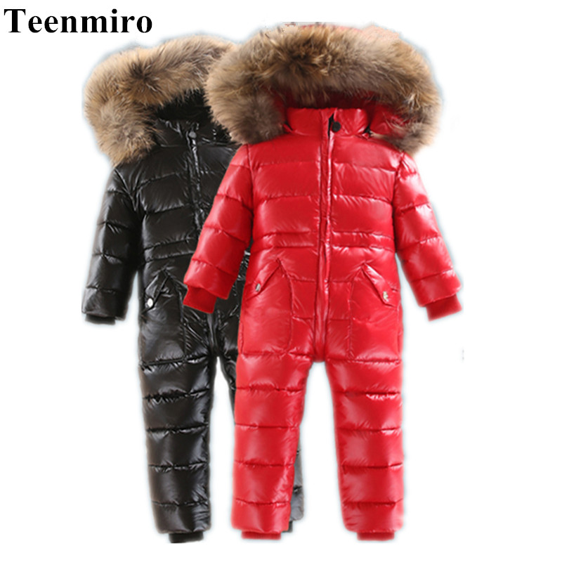 -30 Kids Winter Snowsuit Infant Jumpsuit Duck Down Jacket for Girl Coat Boy Park Baby Nature Fur Overalls Snow Wear Child Clothe the love of cat and mouse boy girl cartoon duck down jacket jumpsuit jackets baby snowsuit kids clothes 03
